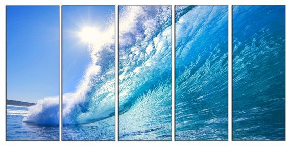5 Piece Modern Ocean Theme Sea Waves nyc Giclee Canvas Picture Wall Art Print Artwork Décor for Living Room Home Bedroom Office