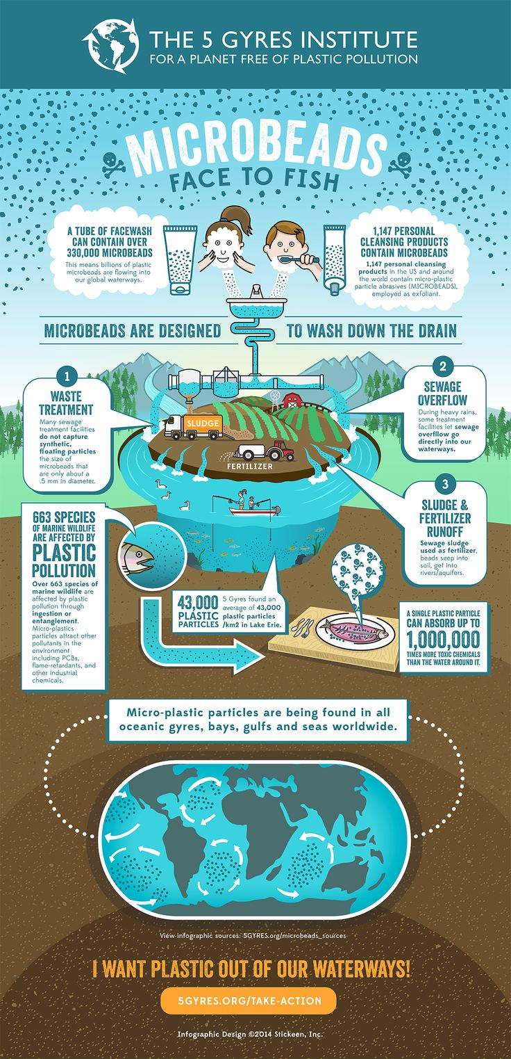 Tiny plastic microbeads found in personal care products like toothpaste and facial scrubs are washed down the drain and evade municipal sewage treatment facilities because of their microscopic size. They end up in rivers, lakes, and oceans where they absorb toxic chemicals (e.g., PCBs, DDT, PFCs) in the water and are ingested by aquatic wildlife. And they simply accumulate and accumulate as toxic plastic pollution.