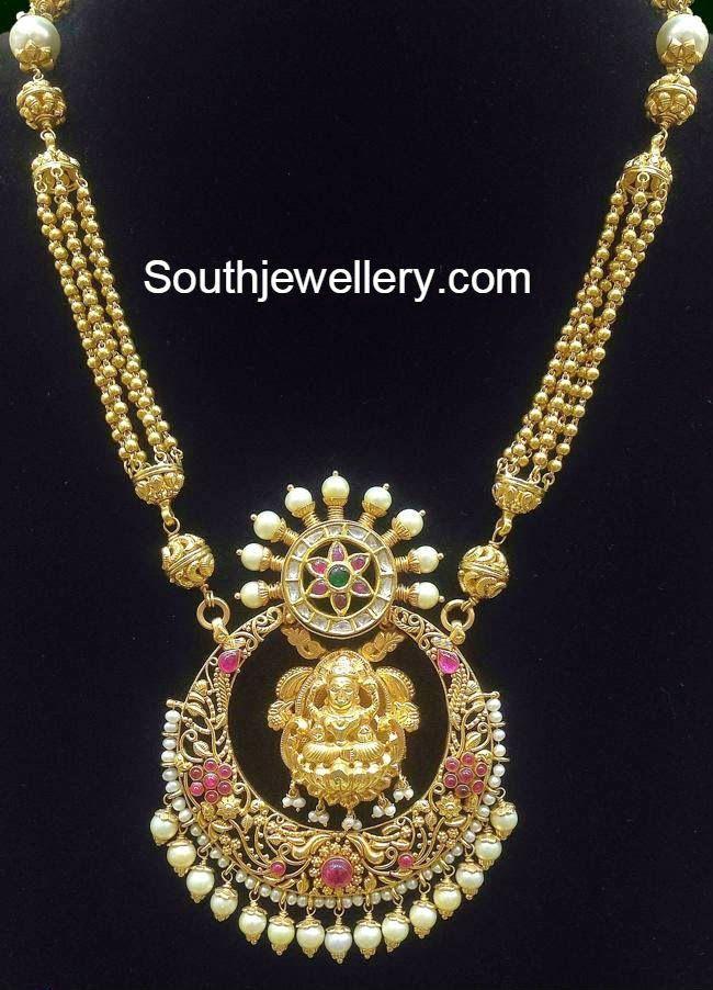Gold Balls Haram with Lakshmi Chandbali Pendant