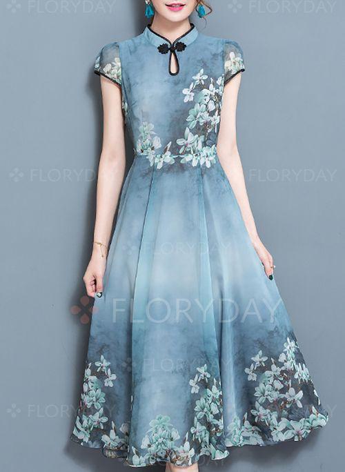 Sukienki - $52.54 - Bawełna Kwiatowy Rękawy Cap Do Połowy Łydki Elegancki Sukienki (1955132258)