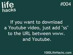 how to download a video from youtube life hack - Google Search