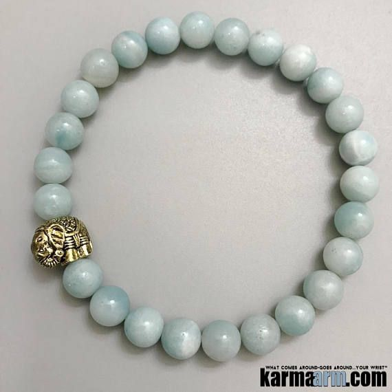 "Beaded Bracelets   HOPE: Amazonite Lucky Elephant Chakra Jewelry. Pale azure blue amazonite is known as the lucky ""Hope Stone"". #Elephant #BEADED #Gemstone #Mens #Good #Lucky #womens #Jewelry #Eckhart #Tolle #CrystalsEnergy #gifts #Chakra #reiki #Healing #Kundalini #Law #Attraction #LOA #Love #Mantra #Mala #Meditation #prayer #mindfulness #wisdom #CrystalEnergy #Spiritual #Gifts #ValentinesDay #Valentine #Valentines #Mommy #Blog #Fertility #Tony #Robbins #friendship #Stacks #Lucky"