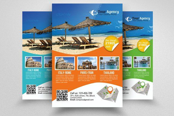Tour Travel Agency Flyer Template by Business Flyers on @creativemarket