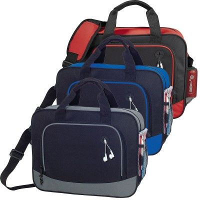 Barracuda Business Briefcase. Zippered main compartment with double 16 inch reinforced top carry handles. Zippered front pocket with ear bud port. Open-top back compartment. Zippered side pocket. Side mesh accessory pocket. Adjustable padded shoulder strap. Features: Adjustable padded shoulder strap.Colours: Blue, Grey, Red Material: 600D Poly-canvas Product Size: 304mm(h) x 381mm(w) x 114mm(d) Decoration: Screen Print, Transfer Decoration Area: Screenprint - 110mm(h) x 175mm(w). (5157_NOTT)