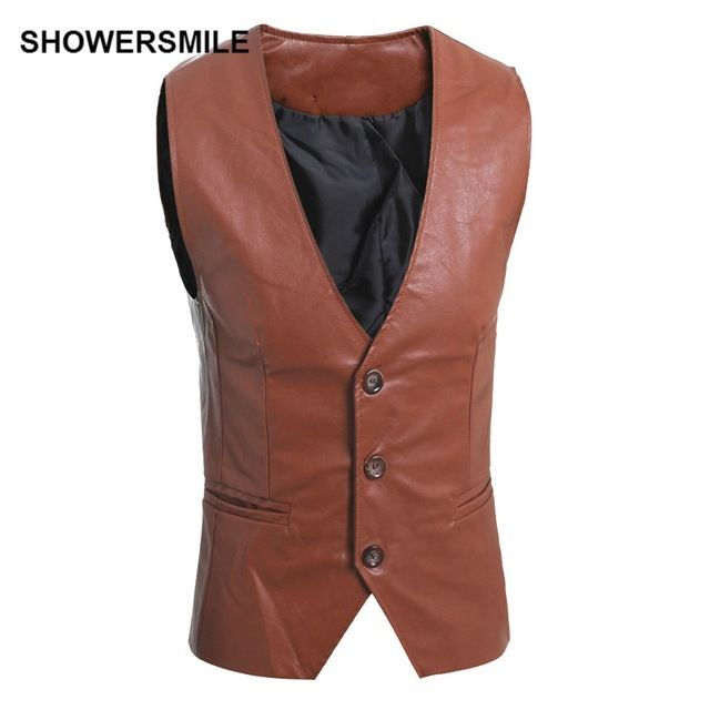Buy now SHOWERSMILE Brand Mens Brown Leather Vest Motorcycle Sleeveless Jackets Man Suit Vest Classic Male Black Waistcoat just only $20.21 with free shipping worldwide  #jacketscoatsformen Plese click on picture to see our special price for you