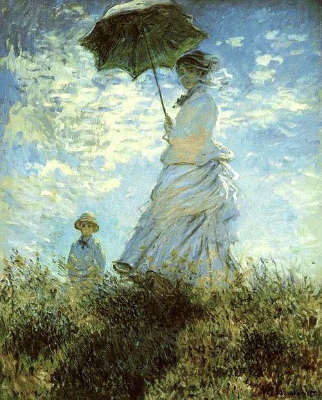 Painting Title: La Promenade (La Promenade, la femme à l'ombrelle - Woman with a parasol) 1875  Claude Monet  Famous French impressionist painter    About the La Promenade Painting  Monet painted several versions of the woman with parasol or umbrella. They are romanticized visions of a time gone by, even in the 1800s.