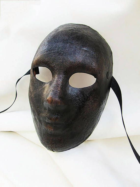 neutral mask androgynous dark leather costume by MaschereFabula