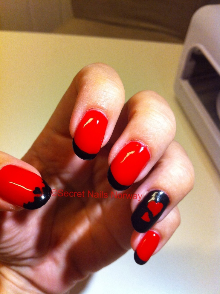 My Valentine Nails Red With Black Tip I Used Gel polish