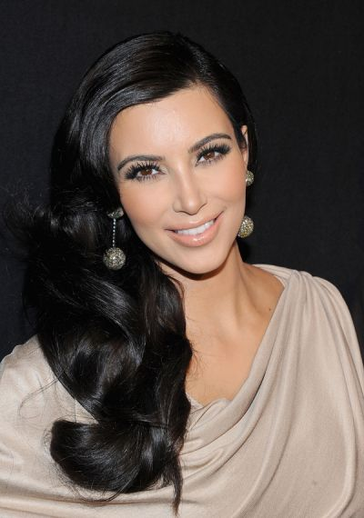 Kim Kardashian Glamour Queen - Side swept old hollywood hair - grecian draped dress - Kim Kardashian Beauty Then and Now - Kim Kardashian minimal makeup - #Glam
