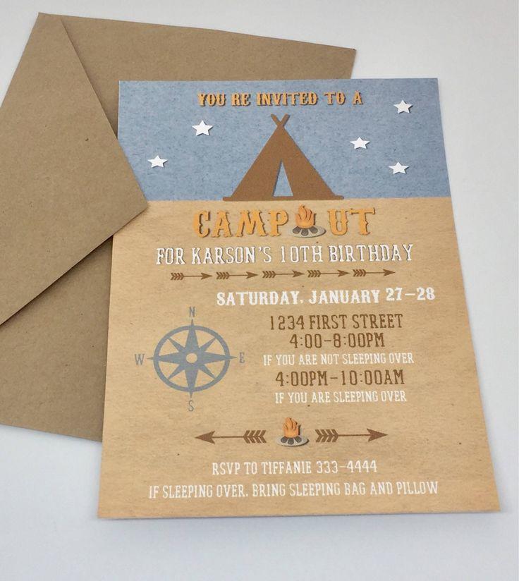 indianjones birthday party invitations printable%0A Camping Birthday Invitations  Backyard Overnight Party  Boys Birthday  Invites  Camping Invites  Printable