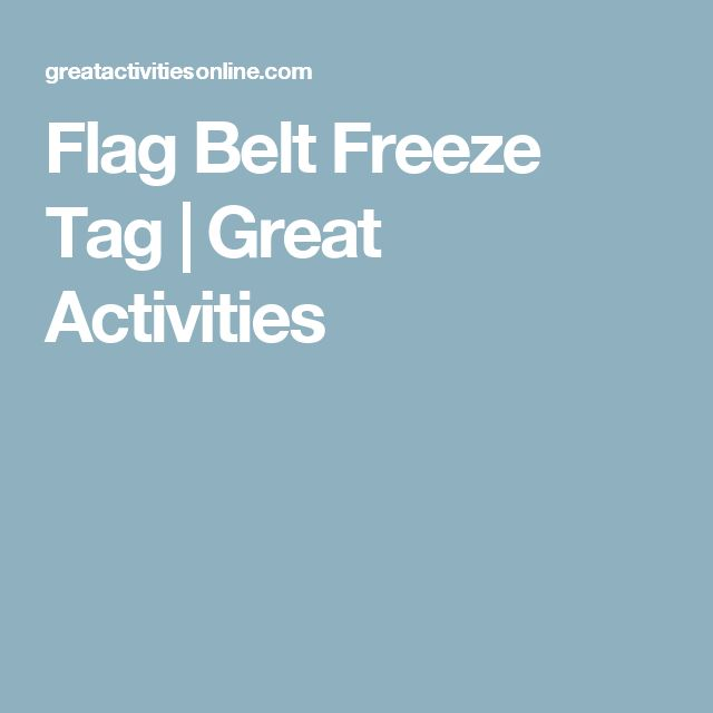 Flag Belt Freeze Tag | Great Activities