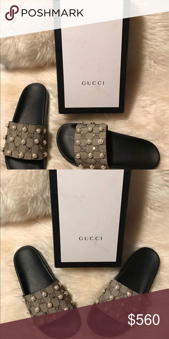 Gucci Slides Authentic brand new in box Gucci Slides! Beautiful with pearls! NO low offers! Will only do a better price in P AY PA L Gucci Shoes Slippers