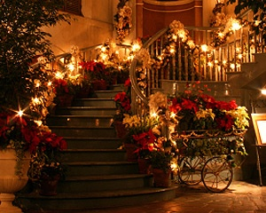 party ideas, lighted garland and stairs..great for a venue that has stairs