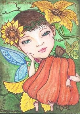 "ACEO TW OCT pumpkin Drawing - ""Pumpkin Fairy-Sammie"""