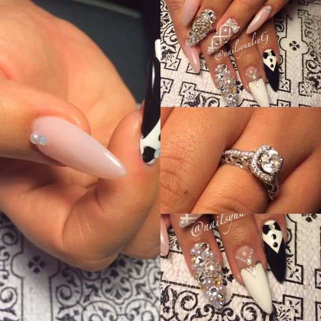 Bride and Groom Stiletto Nails @nailsyulieg
