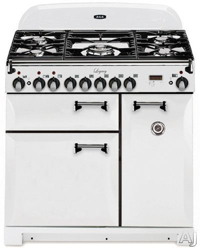 """AGA ALEBS36DFVWT 36"""" Pro-Style Dual Fuel Range with 2.2 cu. ft. Convection Oven, 1.8 cu. ft. 7-Mode Multifunction Oven, Broiling Oven, Manual Clean and Plate Warming Rack: Vintage White"""