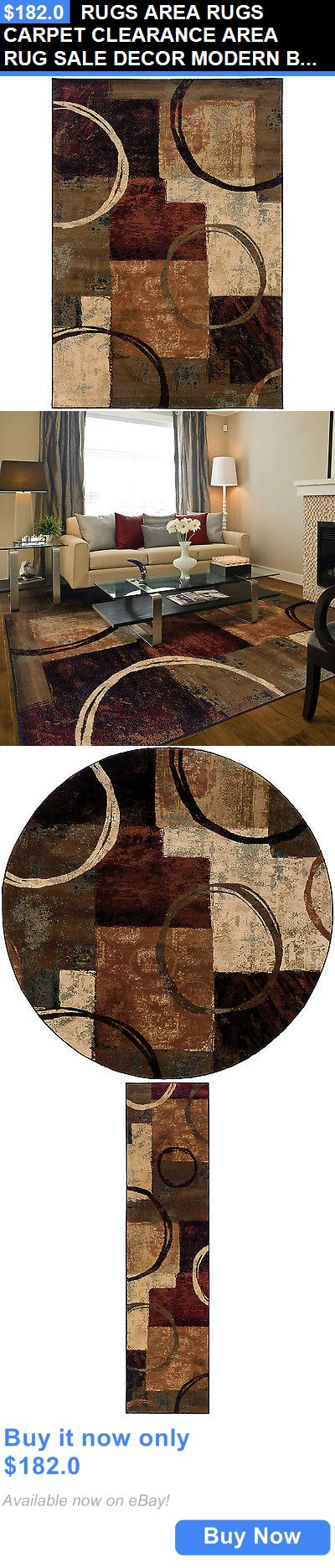 household items: Rugs Area Rugs Carpet Clearance Area Rug Sale Decor Modern Brown Rugs New BUY IT NOW ONLY: $182.0