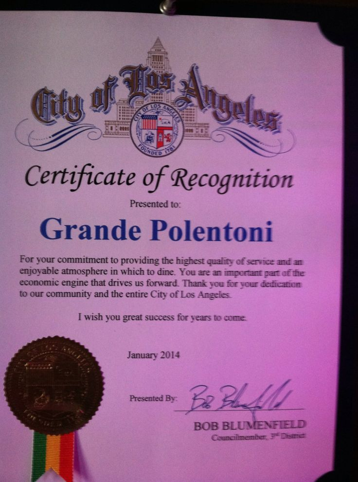 Welcome to Grande Polentoni Italian / Persian Cuisine formerly California Kabob Restaurant » Bob Blumenfield from the City of Los Angeles Certificate of Recognition to Grande Polentoni Restaurant