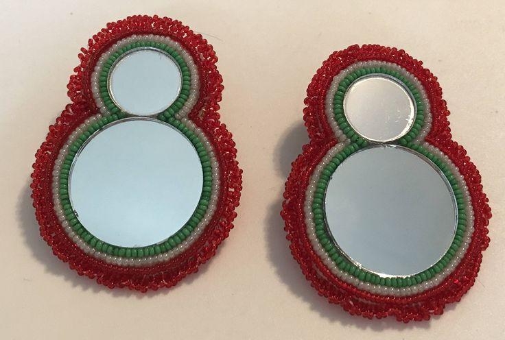 Earrings POWWOW  REGALIA Red Green White MIRRORS by CreatedbyNonnie on Etsy https://www.etsy.com/listing/541913128/earrings-powwow-regalia-red-green-white