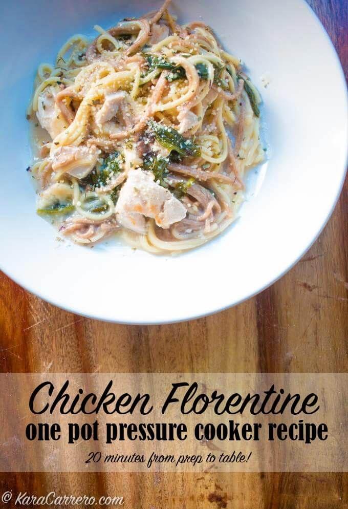 Instant pot chicken florentine recipe 20 minute to finish...would add onions, garlic & chicken broth.