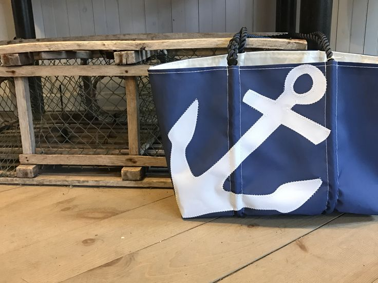 White-On-Navy Anchor Tote