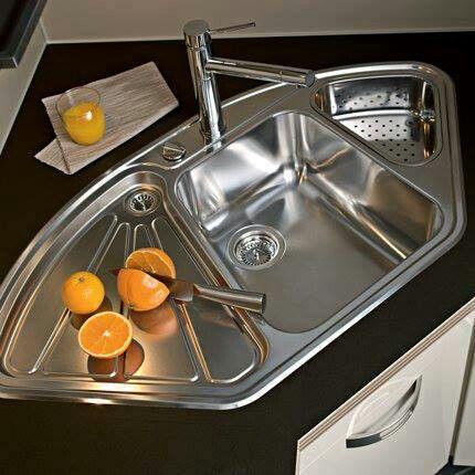 Cool corner kitchen sink cutting board & colander
