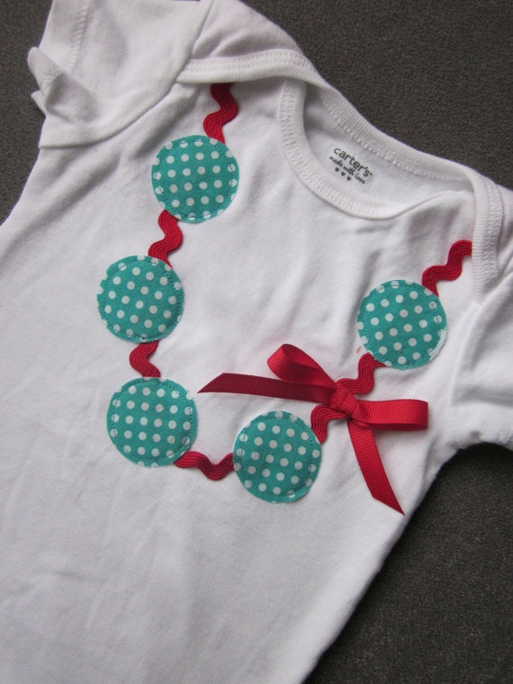 Polka dot necklace applique onesie by TheModishLife on Etsy, $17.00