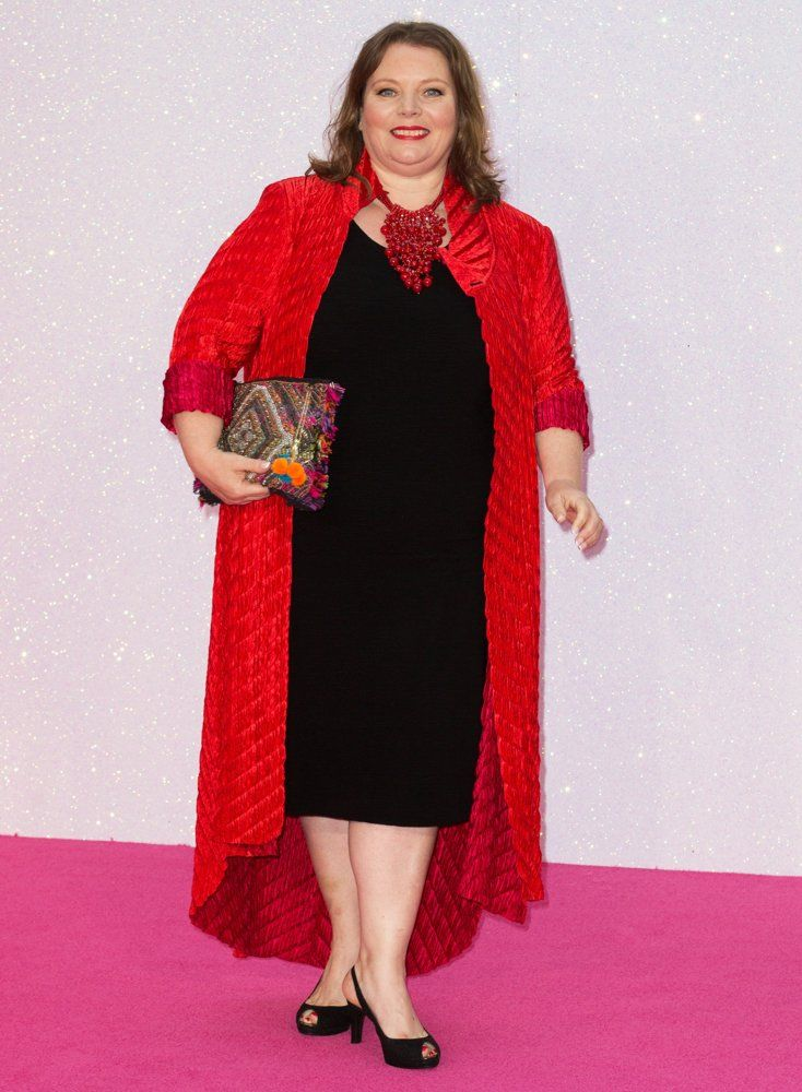 Joanna Scanlan currently filming second series of No Offence in Manchester takes time out to attend the world premiere of Bridget Jones Baby.    Looking fabulous, clothes from Beige London, styled by Leanda Walters
