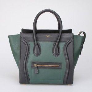 Celine Mini Two Tone Tote Leather Bag Green Black