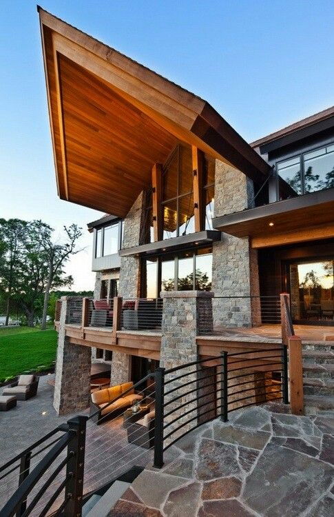 Contemporary Stacked Stone And Wood Beam Exterior Design Ideas Pictures Remodel Decor
