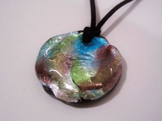 Dichriotic Glass Pendant on Suede Strap on Etsy, $25.00 CAD
