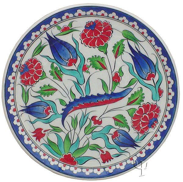 Iznik Design Ceramic Plate - Naturel Garden