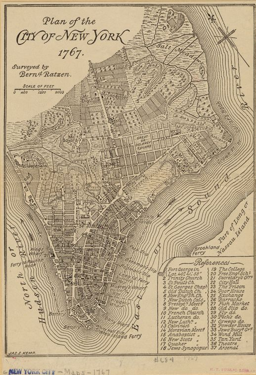 A walking tour of 1767 New York - Curbed NYclockmenumore-arrow : In the footsteps of the 250-year-old Ratzer Map