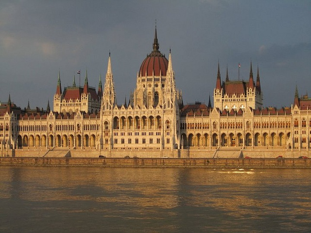 Hungarian Parliament at sunset, by adriennw