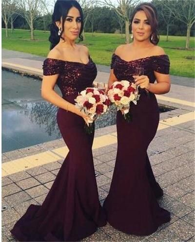Maroon Bridesmaid Dress ,Stunning Sequin Bridesmaid Dress, Off Shoulder Sweep Train  Mermaid Bridesmaid Dress, BD143381