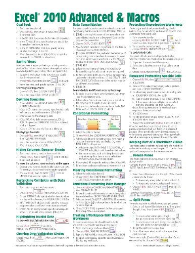 Microsoft Excel 2010 Advanced & Macros Quick Reference Guide (Cheat Sheet of Instructions, Tips & Shortcuts - Laminated Card) by Beezix Inc