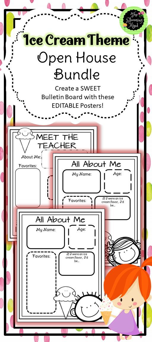 Everything you need for Open House in one Ice Cream Theme bundle! This fun, SWEET bundle will make prep for Open House easy and fun! Create a welcome area, sign in area, donation station, take home packet, forms to complete, and bulletin board display for visitors! Included in this download is: WELCOME banner Invitation to Open House for students to fold, color, fill out, and take home SIGN IN Poster Sign in sheets (3) DONATION Poster and Sign up Sheet