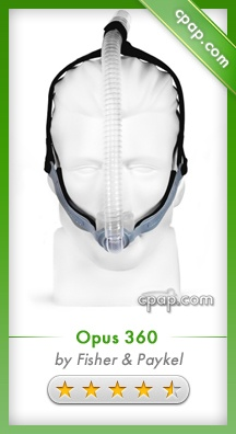 he Opus 360 provides an exceptional amount of freedom in your sleep position while still maintaining a comfortable fit and effective seal. Small and quiet, the slim design allows for almost any sleeping position without the mask becoming dislodged. Its innovative 360 degree pivotal ball and socket elbow connection allows for a great deal of overall adjustability. Click on the image above for more information!