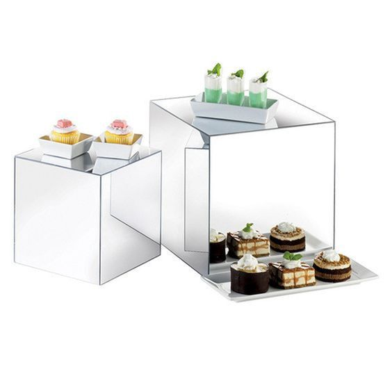 Cube mirror riser glassware wholesale wedding centerpiece