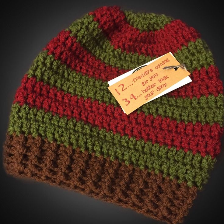 Freddy Krueger // Dream Warriors beanie // Nightmare on Elm St // Freddy Krueger beanie hat // Halloween beanie hat // crochet beanie by BlackRiverCraft on Etsy https://www.etsy.com/listing/250207535/freddy-krueger-dream-warriors-beanie