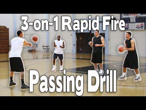 BASKETBALL PASSING DRILL   3-on-1 RAPID FIRE PASSING   Shot Science Basketball - YouTube
