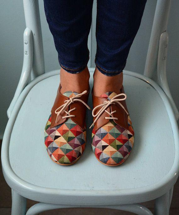 Bunte Schuhe - Leder-Schuhe-Oxford flache Schuhe-Damen Schuhe - flache Schuhe-Braun Leder Schuhe-einzigartige Schuhe-handgemachte Schuhe-geschlossene Schuhe