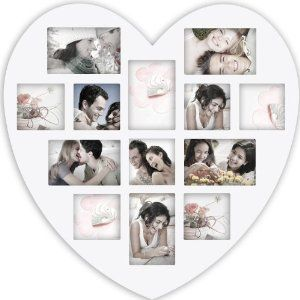 Birthday gift:Adeco [PF0305] 13 Openings Heart Picture Collage Frames - Holds Seven 4x4 and Six 4x6 Inch Photos - Heart Shaped Wood Photo Collage Decoration - White, for Wall Hanging