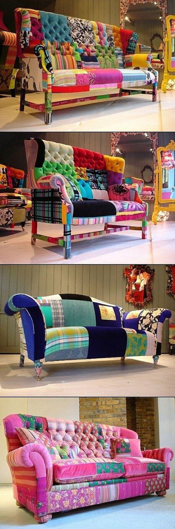 Яркий лоскутный диван