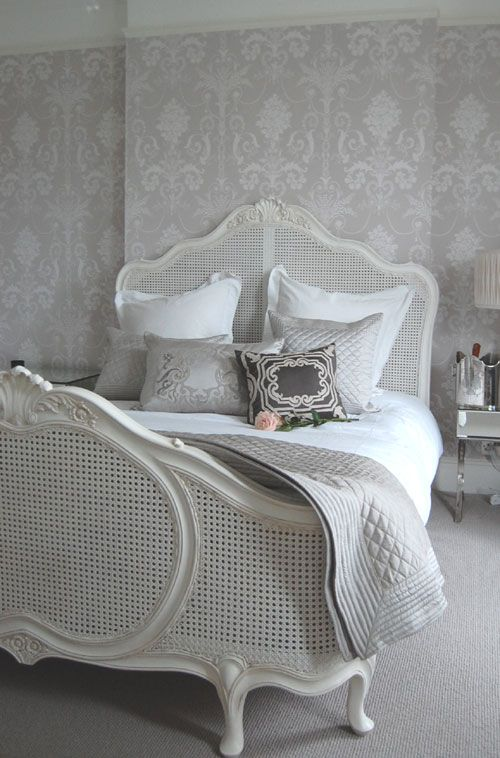 White, Cream and Gray Bedroom, Painted Bed, Wonderful Wall ; I like this color scheme for Bedroom #2
