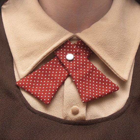 Womens Neck Tie - Brown Brick Red with White Polka Dots. $18.00, via Etsy.