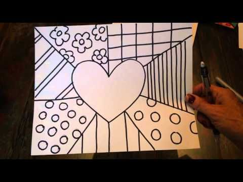 How to Draw a Britto-Inspired Heart Art Lesson for Kids - YouTube