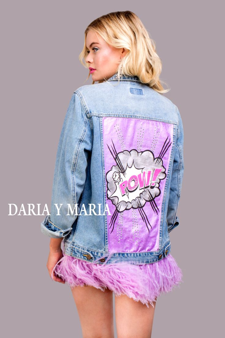 "Denim jacket ""POW VIOLET"" of gently blue color. Hand painted with shining and pearl dyes in Pop Art style, decorated with detachable ostrich feathers high quality of violet colour and rhinestones."