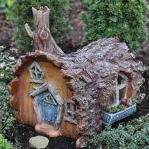 Fairy Gardening Log House Fairy Home This is part of the Fiddlehead village collection and measures 6″ long.