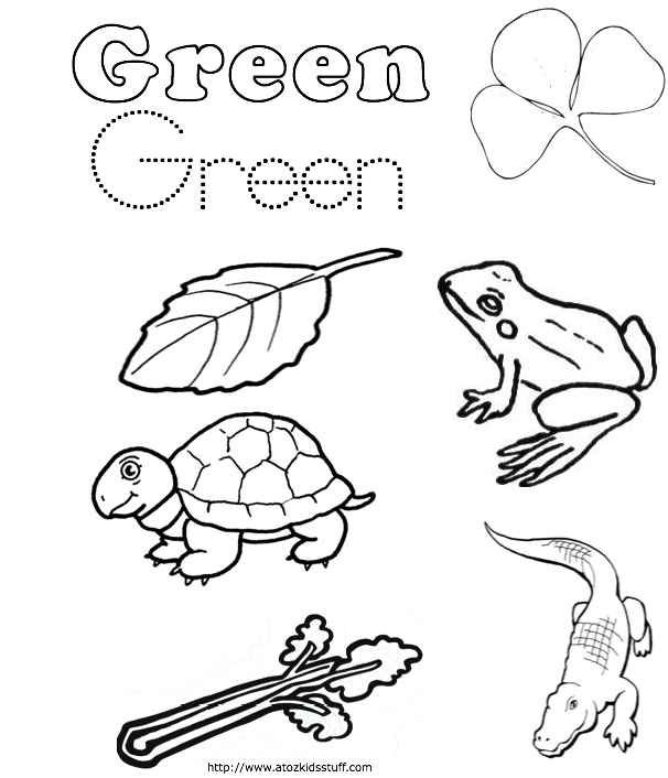 Green color word worksheet Preschool coloring pages